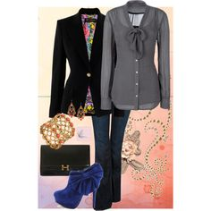 """Business casual""-love the lining of the blazer"