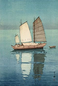 """Sailing Boats, Afternoon,"" by Hiroshi Yoshida. Illustration courtesy of Toledo Museum of Art. COVER: ""Actor Jitsukawa Yenjaku as Danshichi,"" by Natori Shunsen. Illustration courtesy Toledo Museum of Art. Hiroshi Yoshida, Toledo Museum Of Art, Art Occidental, Davidson Galleries, Art Asiatique, Art Japonais, Japanese Painting, Japanese Prints, Japan Art"