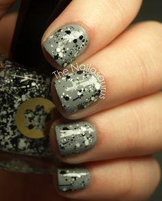 Gray / Black / White Splatter #Nails