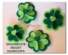 Shamrock Heart Hairclips ~ Sugar Bee Crafts Would also be cute on a dog or cat collar St Patrick's Day Crafts, Bee Crafts, Decor Crafts, Holiday Crafts, Crafts For Kids, Kids Diy, Felt Flowers, Fabric Flowers, St Paddys Day