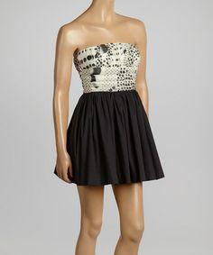 Black & Cream Dot Silk Strapless Dress by Rubber Ducky Productions #zulily #zulilyfinds