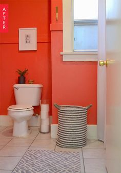 Before & After: A Beige Bathroom Goes Bold for $100   Apartment Therapy