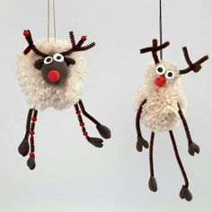 Pom-Pom Reindeer with Silk Clay and Pipe Cleaners with Beads - Creative ideas Christmas Crafts For Kids, Xmas Crafts, Diy Christmas Ornaments, Craft Stick Crafts, Spring Crafts, Crafts To Sell, Diy And Crafts, Christmas Decorations, Christmas Pom Pom Crafts