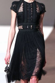 Elie Saab Fall 2010 RTW Button Bodice Capsleeve Lace Inset Dress Profile Photo