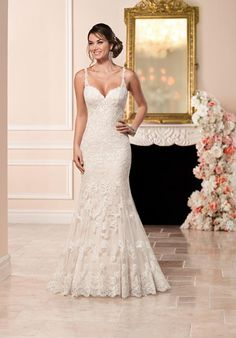 Lace over matte-sided Lustre satin sheath with romantic lace straps and low-cut illusion back | Stella York | 6329 | http://knot.ly/649788F7x