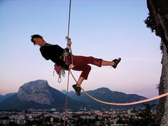 Sports: Espace Comboire urban cliffs climbing action. Ideal for after-work climbing in Grenoble, France