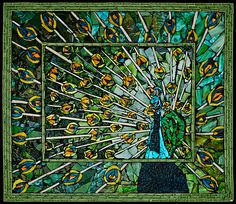 Peacock Mosaic of tile and broken glass by Laura Harris...beauty