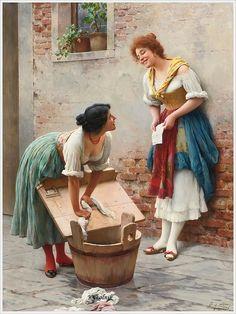 Eugen von Blaas (Austrian, 1843 - 1931) «Sharing the news»
