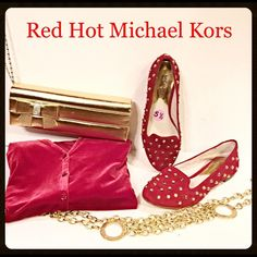 """SALERed hot Michael Kors suede studs slip on Heat up the holidays in these red hot Michael Kors """"Ailee"""" suede leather slip on flat loafers. Embellished with gold studs galore and super comfy. NWOT minor signs of handling. Size 5.5  Michael Kors Shoes Flats & Loafers"""