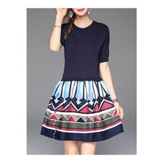 SheIn(sheinside) Navy Knit Chevron Print Combo Dress ($82) ❤ liked on Polyvore featuring dresses, navy, print dress, short-sleeve maxi dresses, short a line dresses, blue a line dress and blue short sleeve dress