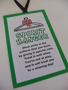 Spirit Hanger Tag - Decorative Hanger Tag for a Cheerleading Uniform