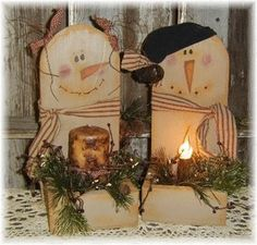 primitive country craft images | Wood Prim Snow Folk (avail. w/Light) :: Lighting :: Christmas ...