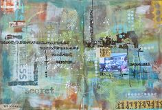 The Common Denominator: Art Journal page by Mary Beth Shaw using StencilGirl stencils designed by Seth Apter.