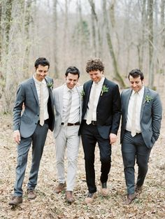 Mismatched groomsmen attire is totally in right now. And it is a much more affordable option for the guys. wedding party How to Choose Groomsmen (The Ultimate Guide) Groomsmen Trends, Mismatched Groomsmen, Groomsmen Grey, Groom And Groomsmen Attire, Bridesmaids And Groomsmen, Groom And Groomsmen Pictures, Bridesmaid Dresses, Wedding Dresses, Wedding Men