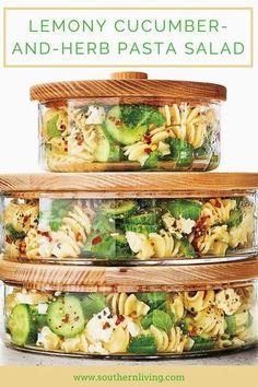 Lemony Cucumber-and-Herb Pasta Salad - Pasta salad recipes - Nudelsalat Vegetarian Recipes, Cooking Recipes, Healthy Recipes, Food Recipes Summer, Vegetarian Salad, Cooking Pasta, Cooking Games, Cooking Classes, Crockpot Recipes