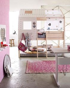 love the idea of the mattress being on the floor so they don't fall out
