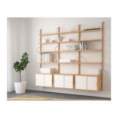 SVALNÄS Wall-mounted storage combination, bamboo, white bamboo/white 76x13 3/4x69 1/4