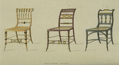 EKDuncan - My Fanciful Muse: Regency Furniture 1809 -1815: Ackermann's Repository Series 1 Vintage Furniture Design, Regency Furniture, Miniature Houses, Dining Chairs, Miniatures, Fancy, Illustration, Artist, Plates