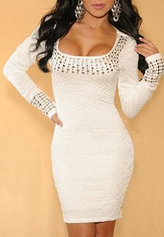 White Studded Rivets Hip Hugging Bodycon Pencil Dress...... If only I has the boobs