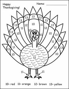 Homeschool Parent Turkey Color Words Worksheet
