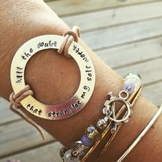 https://www.etsy.com/shop/SunflowerWavesStudio  Customize your own bracelets with quotes or lyrics on this etsy site!