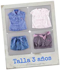 Falda vaquera 6.50€ + Blusa manga corta 7.15€ / Falda globo 6.38€ + Blusa manga corta con lunares 7.25€ http://www.quiquilo.es/21-3-anos