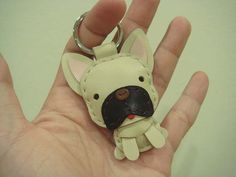 Leather Keychain - Mask the French Bull Dog Leather Charm ( Light Brown ). $21.90, via Etsy.