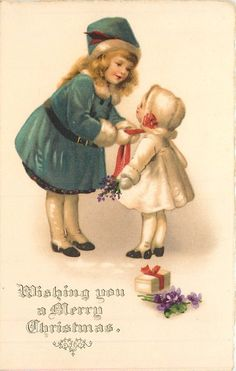 WISHING YOU A MERRY CHRISTMAS  girl ties red scarf of smaller child