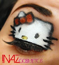 Hello Kitty eye@ Kayla Adam... I wouldn't do this except for a party or Halloween but I thought it looked fun. >00