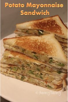 Super delicious creamy mayo potato sandwich which is perfect to pack in lunch box or taste amazing for dinner too. Vegetarian Sandwich Recipes, Best Lunch Recipes, Healthy Sandwiches, Mayonnaise Sandwich, Mayonnaise Recipe, Potato Sandwich, Pizza Sandwich, Fun Baking Recipes, Cooking Recipes