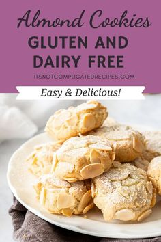 Gluten-Free Almond Cookies – It's Not Complicated Recipes Gluten Free Almond Cookies, Gluten Free Cakes, Gluten Free Baking, Gluten Free Desserts, Easy Desserts, Dessert Recipes, Easy Cookie Recipes, Sweet Recipes, Baking Recipes