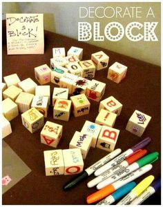 Have your baby shower guests decorate a block for your baby to play with (: