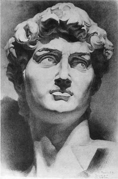 Michelangelo~ A Sudy In Contrasts And Shading~ c.c~Рисунок гипсовой головы Academic Drawing, Academic Art, Michelangelo, Drawing Sketches, Art Drawings, Charcoal Art, Anatomy Drawing, Greek Art, Inspirational Artwork