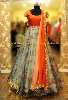 Swathi Veldandi Design Studio Email is part of Indian gowns dresses - Long Dress Design, Dress Neck Designs, Half Saree Designs, Lehenga Designs, Long Gown Dress, The Dress, Long Frock, Designer Anarkali Dresses, Designer Dresses