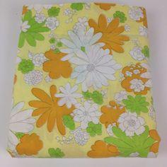 VTG Cannon Full Flat Bed Sheet Mod Flower Power Blossom Festival Orange Green #CannonMonticello #MidCenturyModernRetroFlowerPower