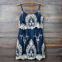 a hint of vintage lace navy & cream dress...love the shade of blue and embroidery