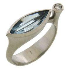 AARON FABER - Platinum and Aquamarine Navette Ring
