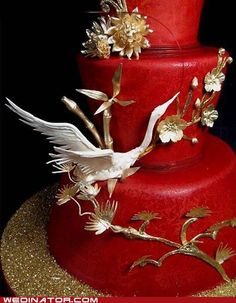 Stork wedding cake -- is how it's labeled, but I think it's a crane, symbol for marital happiness