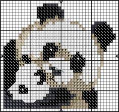 Panda cross stitch chart