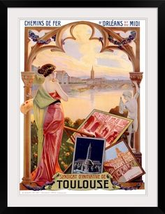 Poster Print Wall Art Print entitled Toulouse, Vintage Poster, by Gaspar Camps Toulouse, Vintage Travel Decor, Vintage Travel Posters, Poster Vintage, Wall Art Prints, Poster Prints, Canvas Prints, Big Canvas, Framed Prints