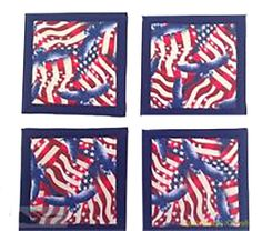 "Amazon.com: Custom & Cool {4"" Inches} Set Pack of 4 Square ""Grip Texture"" Drink Cup Coaster Made of Flexible 100% Cotton w/ American Eagle On USA Flag All American Design [Colorful Red, White & Blue]: Home & Kitchen"