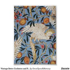 Vintage Retro Cockatoo and Pomegranate Pattern Poster
