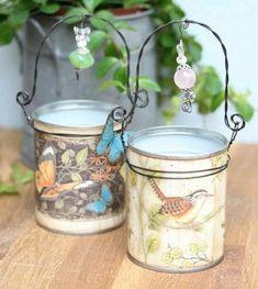 scrapbooking altered tin cans Tin Can Art, Tin Art, Tin Can Crafts, Diy And Crafts, Paper Crafts, Recycled Tin Cans, Recycled Crafts, Vasos Vintage, Decoupage Tins