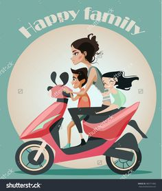 Family Mother Two Kids On Motorbike Stock Vector (Royalty Free) 380771860 Motorbike Girl, Motorcycle, New Pictures, Royalty Free Photos, Motorbikes, Children, Kids, Illustration, Anime