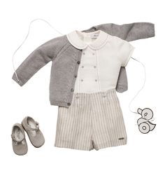 Silver grey baby boy outfit Peter Pam collar