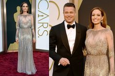 Swooning over this lovely couple. Angelina Jolie makes our list of best dressed at the Oscars in this Elie Saab gown.