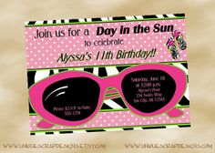 Day in the Sun Pool Party Invitation Pool Party Invitations, Cool Kids, Kid Stuff, Swimming Pools, Spa, Birthday Parties, Party Ideas, Style, Swiming Pool