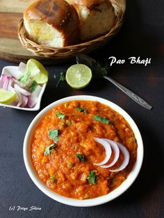 Pav Bhaji is a street food which from state of Maharashtra, India. Pav means dinner rolls and bhaji means cooked vegetables. Bhaji is a blend of vegetables and spices. The bhaji is also healthy in … Curry Recipes, Vegetarian Recipes, Cooking Recipes, Healthy Recipes, Indian Snacks, Indian Food Recipes, Ethnic Recipes, Andhra Recipes, Indian Breads