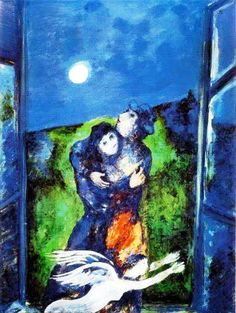 """Marc Chagall, Lovers in the Moonlight ~ """"Only love interests me, and I am only in contact with things that revolve around love."""" ~ Marc Chagall Plus Marc Chagall, Artist Chagall, Chagall Paintings, Inspiration Art, Jewish Art, French Artists, Pablo Picasso, Silkscreen, Famous Artists"""