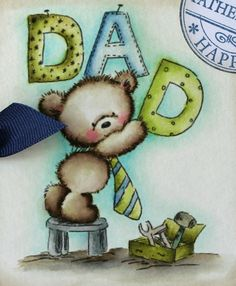 "Here's another cutie from Lili of the Valley called ""Dad's The Word"". So precious for Father's Day. Be on the lookout for this new rele. Father's Day Clip Art, Crazy Love, Mother And Father, Happy Fathers Day, Dads, Lily, Teddy Bear, House Plans, Backyard"